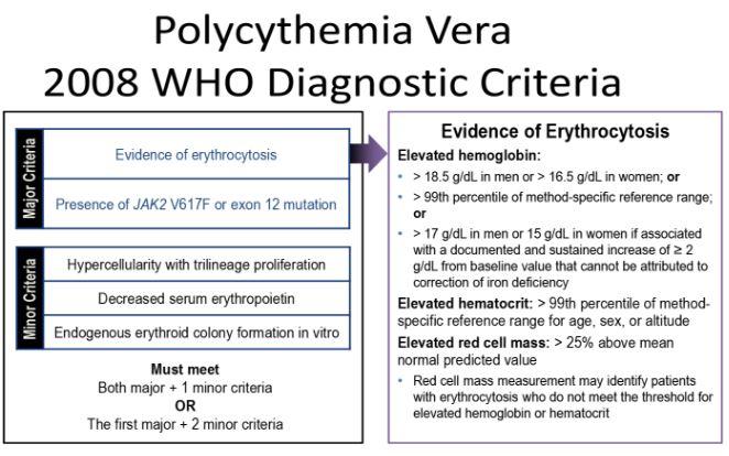 Polycythemia vera diagnosis criteria who